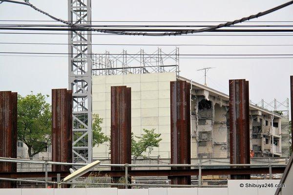 The demolishing work on the old danchi blocks is in full swing