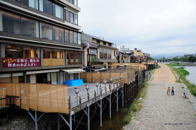most of the stores on the river side of pontocho have outside decks