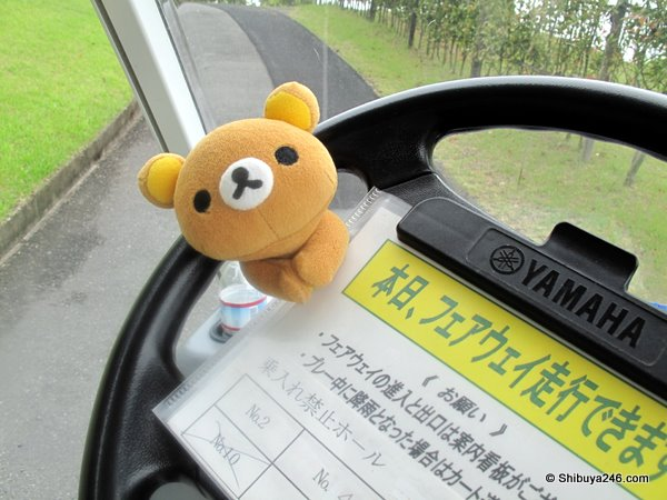 Rilakkuma handling the steering for a while