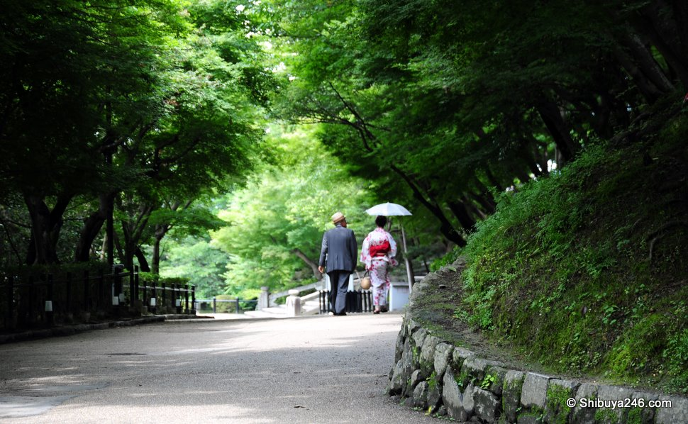 A couple out walking through the Temple grounds