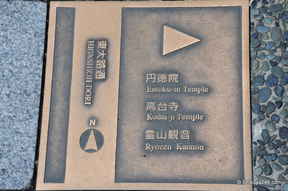 A road marker showing the way to a series of Temples