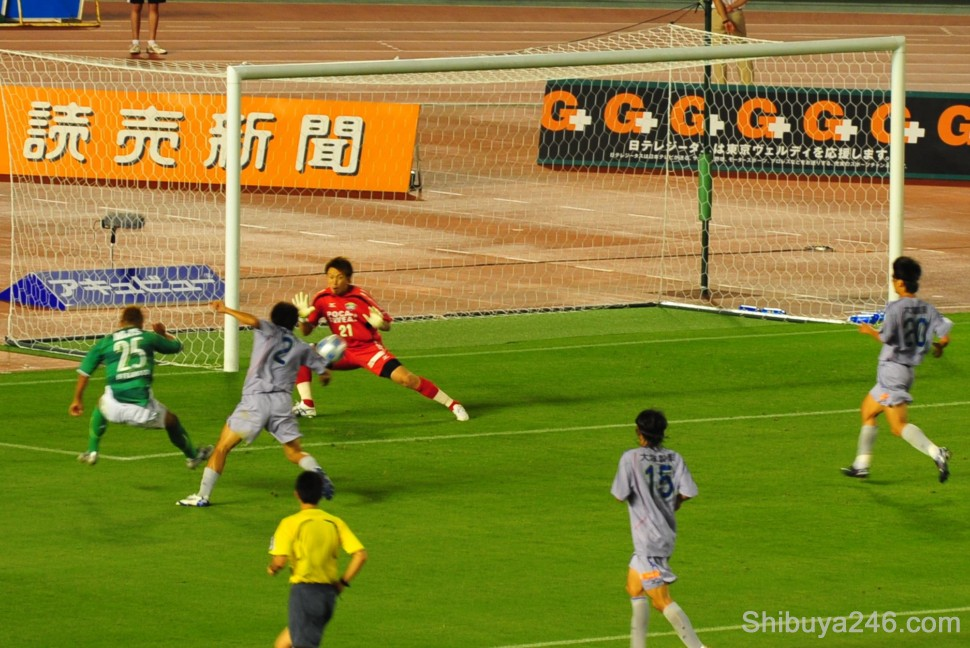 and that's another fine shot that will also find the back of the net for Verdy