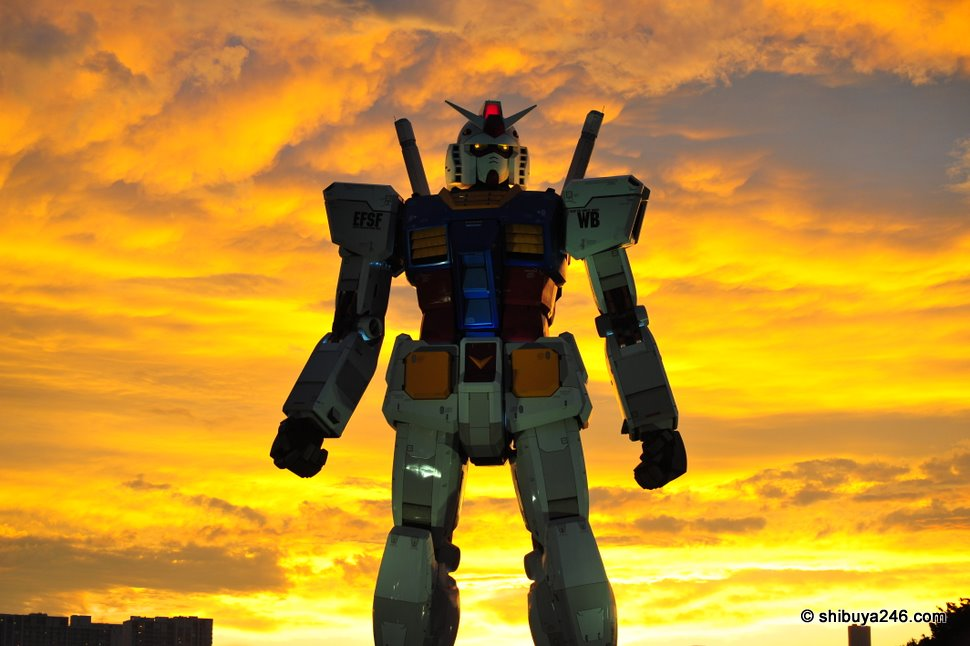 More firey skies for Gundam as he stalks the night