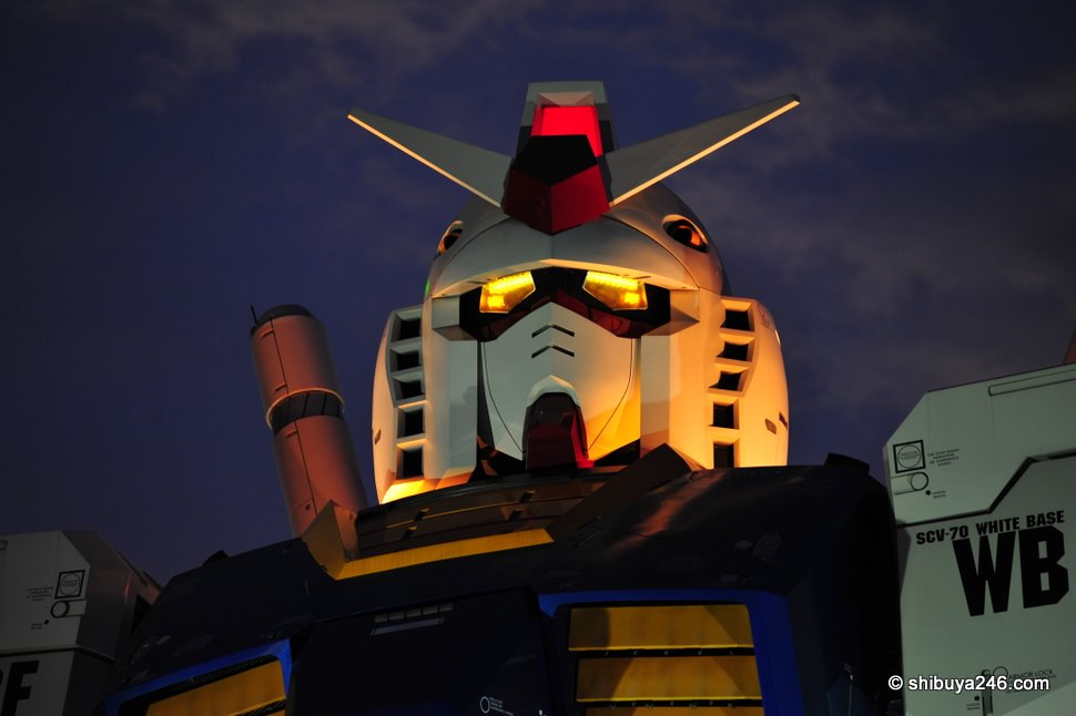 WE almost catch a wink from Gundam as we sneak a close-up of his helmet