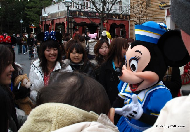 Minnie Mouse makes an appearance at TDR, Notice most of the fans are not children anymore