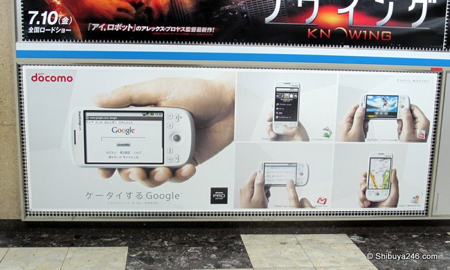Google Android phone at Shibuya station