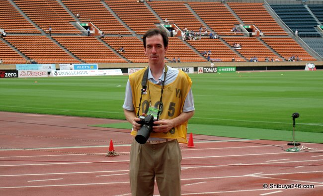 pre-match photograph of me getting ready for the match. Nikon at the ready