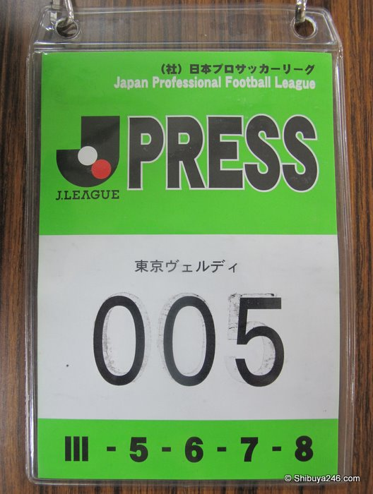 The official Press pass to get in to Yoyogi Stadium