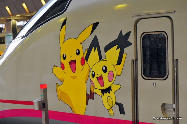 Pokemon and Pikachu characters on the front of the Shinkansen