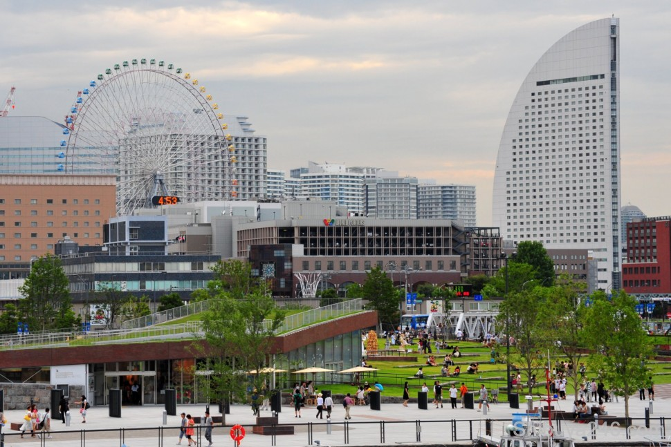 The Minato Mirai (Harbor Future 21 Project) area with ferris wheel, hotel and shopping areas