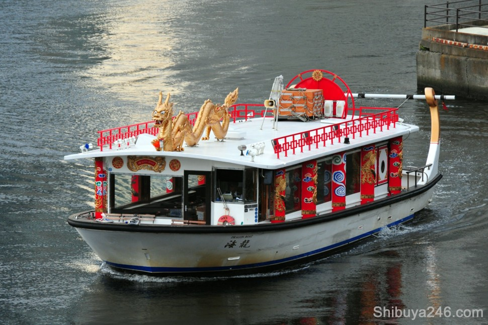 One of the many small tourist boats operating in the harbor. The Dragon Boat takes you on a short ride to Yamashita Koen