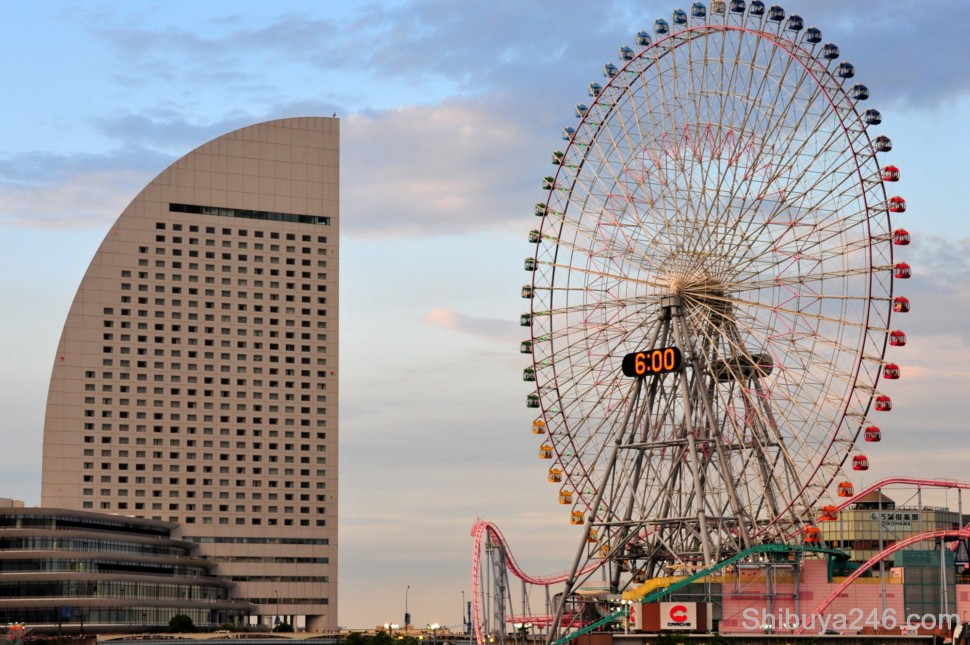 Two of the well known landmarks in Yokohama, ferris wheel and shapely designed hotel