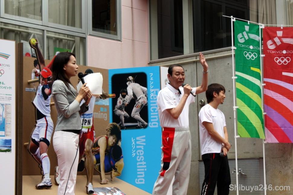 Yoshinori Sakai gives a speech