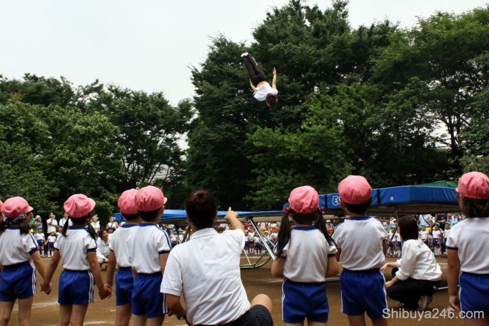 The teacher points out to the children the trampoline show