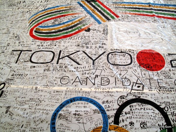 Supporters sign in for the Tokyo 2016 Olympics, Paralympics