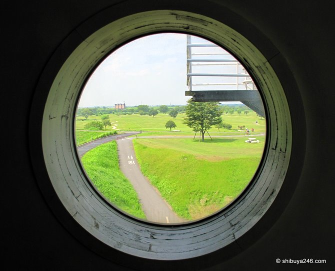 view of the course from the porthole