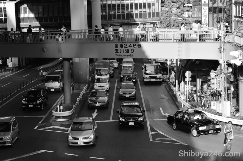 Route 246 runs alongside Shibuya Station on the other side from Center-gai. If you follow the road straight you can get to Roppongi