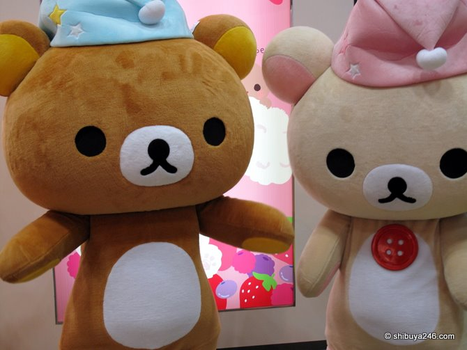 A closeup of Rilakkuma and Korilakkuma