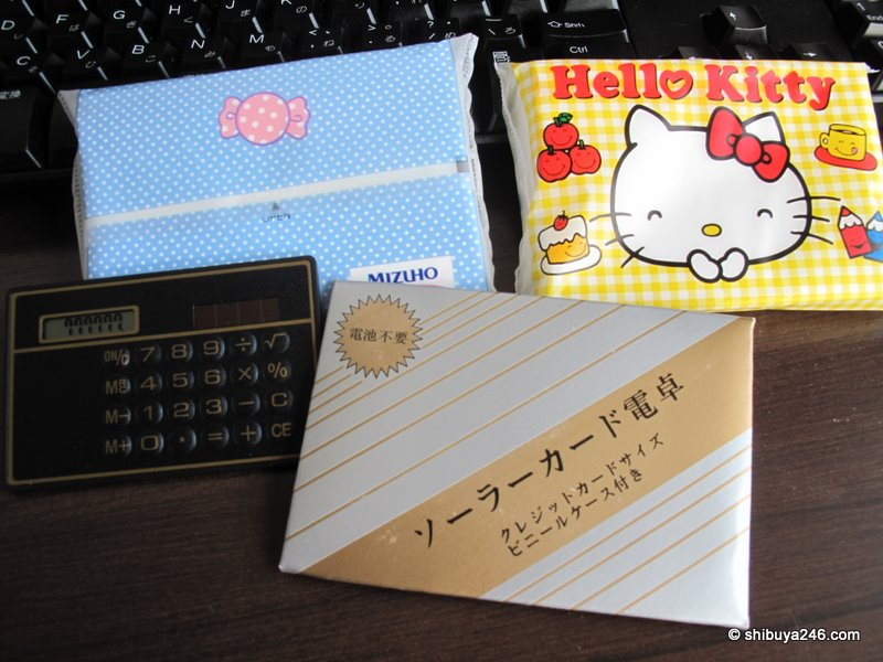 Hello Kitty tissues from Mizuho Bank