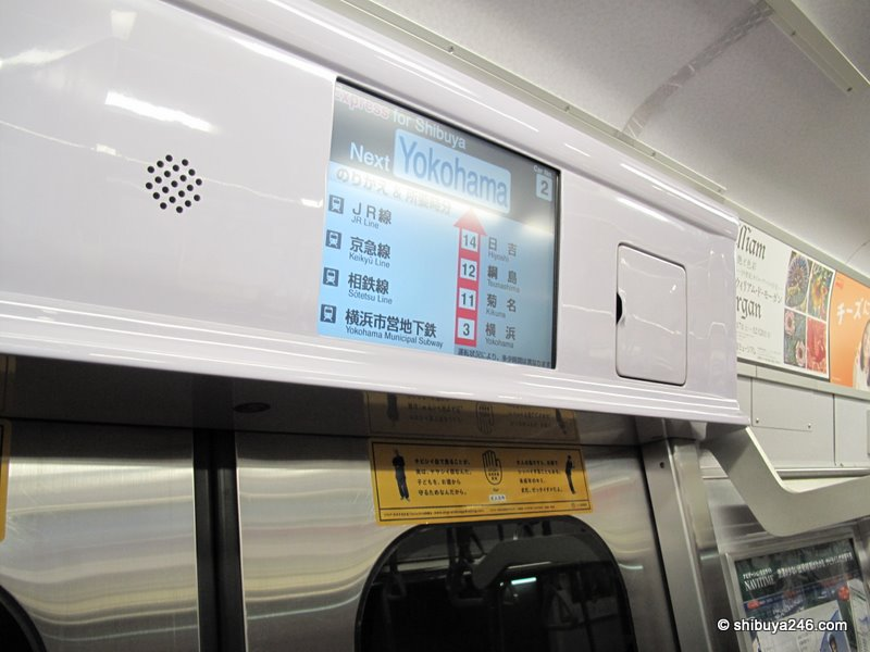 Inside the Minato Mirai Line trains, which are the same as the Toyoko Line trains running to Shibuya. The signs are in Japanese and English and easy to understand.