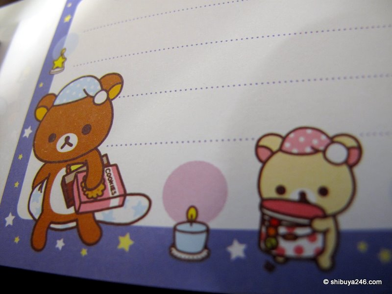 closeup of the small reminder note pad from Rilakkuma (San-x company)