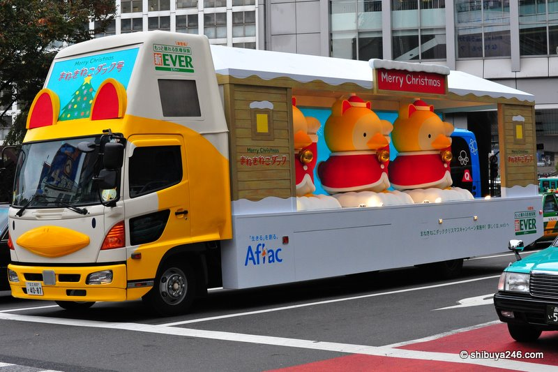 The Aflac truck was full of christmas cheer sporting these colorful ducks