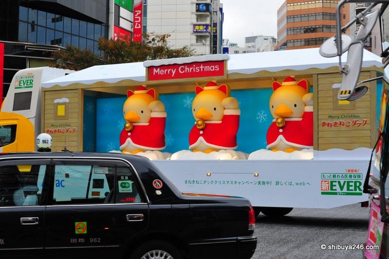 The truck says you need to check their website out to see what the special Christmas maneki-neko duck campaign is