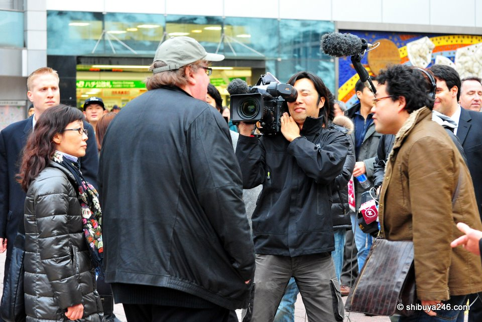 Filming with the NHK crew at Hachiko, Shibuya
