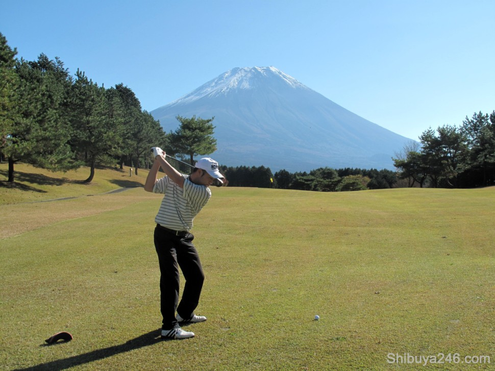 Golfers in action. My friend takes a shot at Mt Fuji. At least it was easy to pick a target in the distance and aim for it