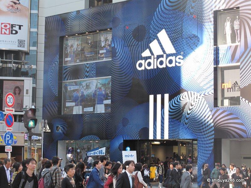 The adidas store at Shibuya has had a bit of a facelift or wrapper lift