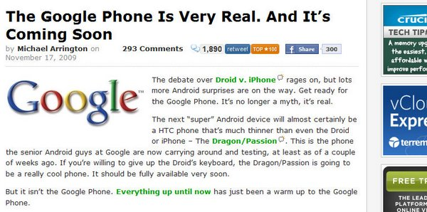 More information about the rumored new Google Phone, from TechCrunch (click for more)