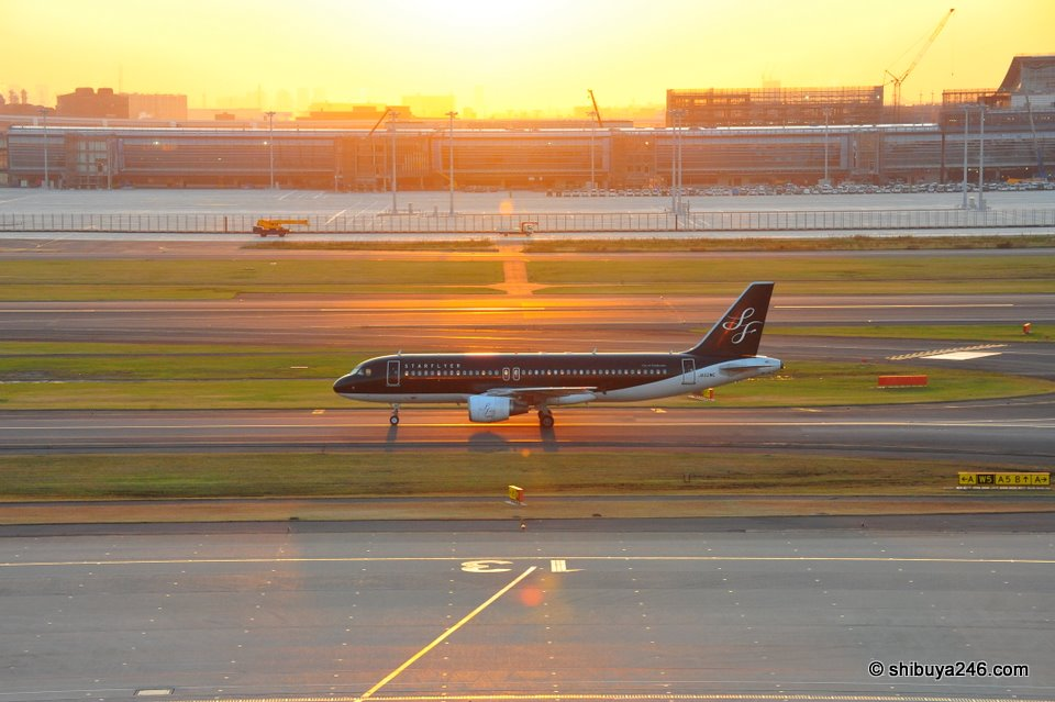 The STARFLYER plane heading back to the terminal