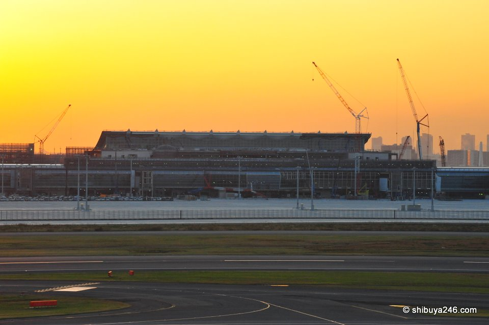 The new terminal building currently being constructed at Haneda Airport, Tokyo's International Airport.