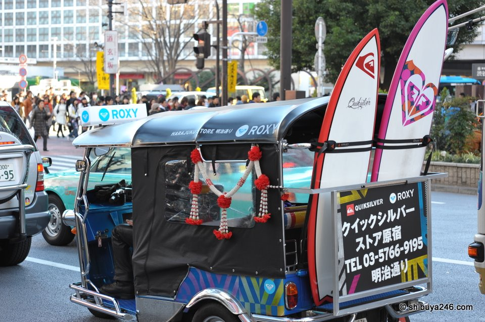 The Quiksilver Roxy promotion vehicle doing the rounds in Shibuya