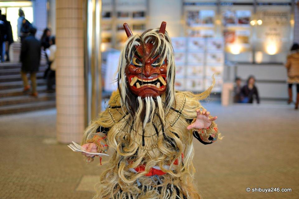 Namahage from Akita-ken, promoting the Akita Bisaikan at Shinagawa, Tokyo