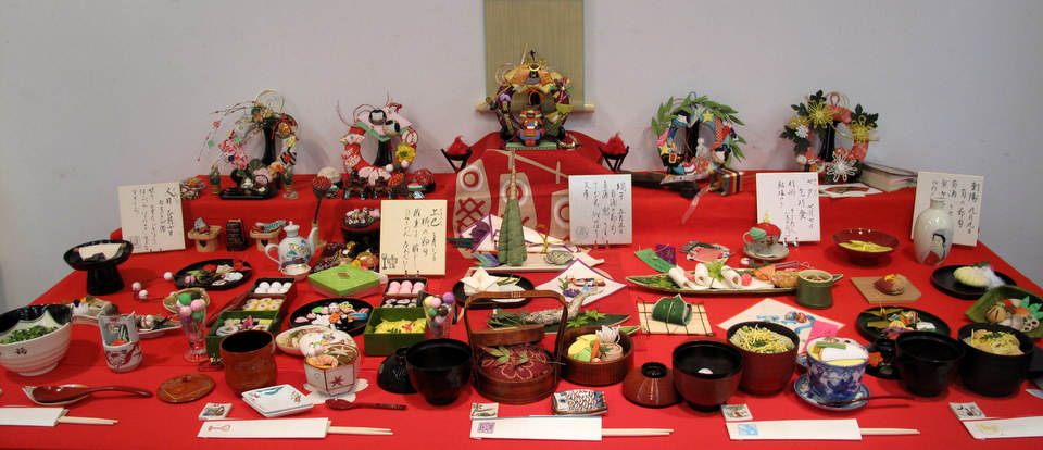 A beautiful spread of food here, all made with chirimen.