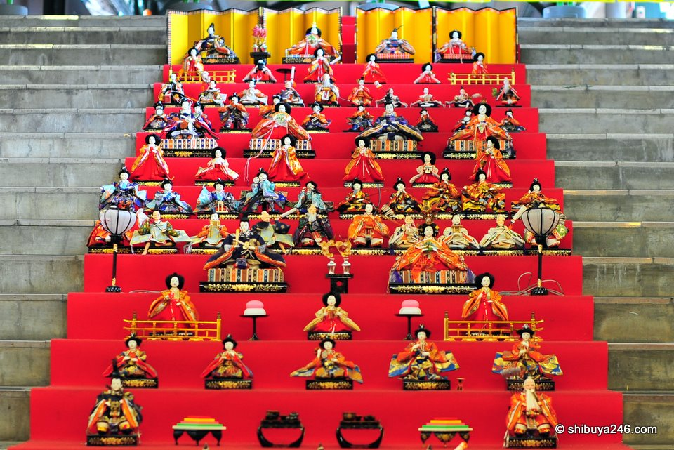A closeup of the Hina Ningyo display at Ryogoku Station.