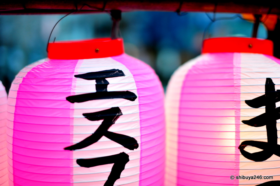 Some of the decorative lanterns for the Sakura festival.