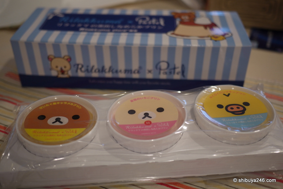 There were 3 faces on the pudding cups, Rilakkuma, Korilakkuma and Kiiroitori.