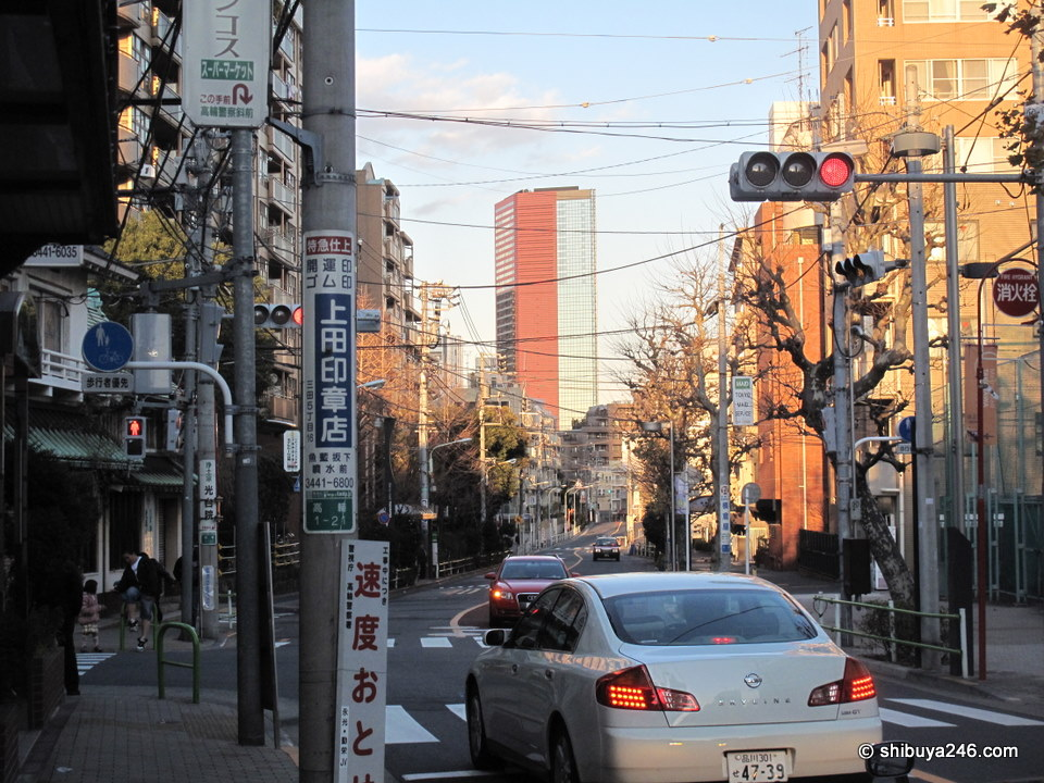 Looking down past Isaragozaka towards Tamachi.