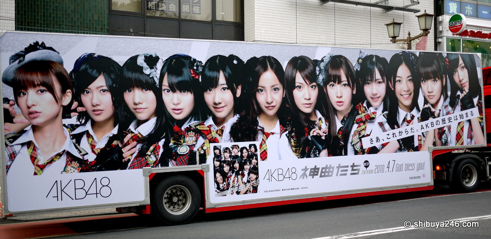 The ever popular AKB48 passing through Shibuya