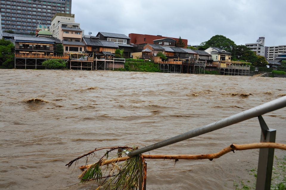 Debris caught up in the river